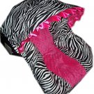 Custom Hot Pink Minky & Zebra Infant Car Seat Cover