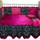 Custom Handmade 4 Piece Hot Pink & Zebra Print Baby Bedding Set
