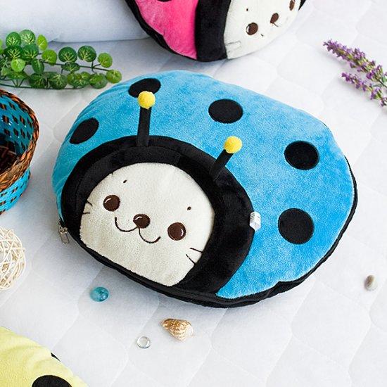 Sirotan - Ladybug Blue Blanket Pillow Cushion / Travel Pillow Blanket