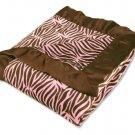 Sweet Safari Pink Satin Framed Velour Blanket