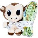 Chibi Zoo Monkey with Sage Fleece Blanket Gift Set