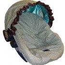 Aqua Harlequin Cotton Infant Car Seat Cover