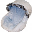 Baby Blue Minky with Zebra Ruffle Infant Car Seat Cover