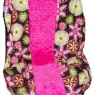 Custom Toddler Bohemain & Hot Pink Minky Standard Car Seat Cover
