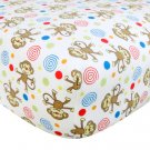 Monkey Print Flannel Crib Sheet