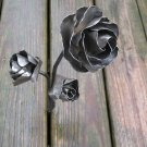 Triple metal rose sculpture
