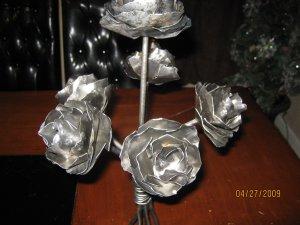 Table centerpiece, Metal roses sculpture, Home decor floral arrangment