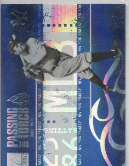 05 Donruss Elite Babe Ruth Alex Rodriguez Passing the Torch Blue 444/500