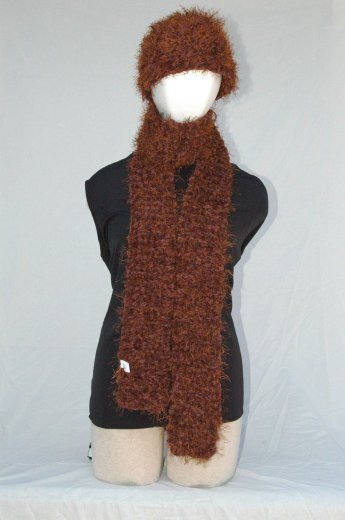 "Handmade ""Chocolate"" Scarf/Hat Set"