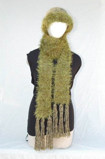 "Handmade ""olive green"" Scarf/Hat Set"