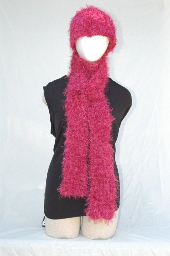 "Handmade ""Raspberry"" Scarf & Hat Set"
