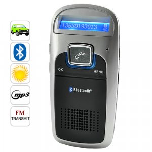 Solar Powered Handsfree Bluetooth Car Kit w/ FM Transmitter, MP3