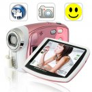 5.0M Pixels Digital Camcorder w/ Face Detection, 8x Zoom - Pink