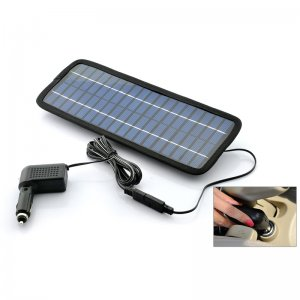 Windshield Solar Panel Battery Charger w/ USB, Cigarette Lighter Adapter