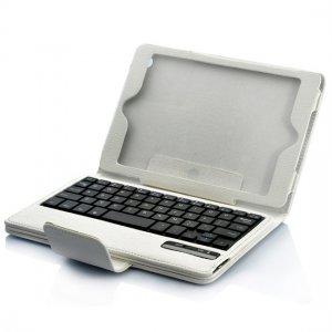 Detachable Bluetooth Keyboard Leather Case For iPad Mini - White
