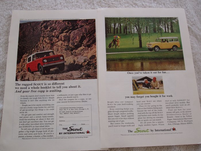 2 International Harvester Scout magazine ads  Free Shipping