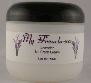 My Franchesca French Vanilla Scented No Crack Cream in a 4oz jar.