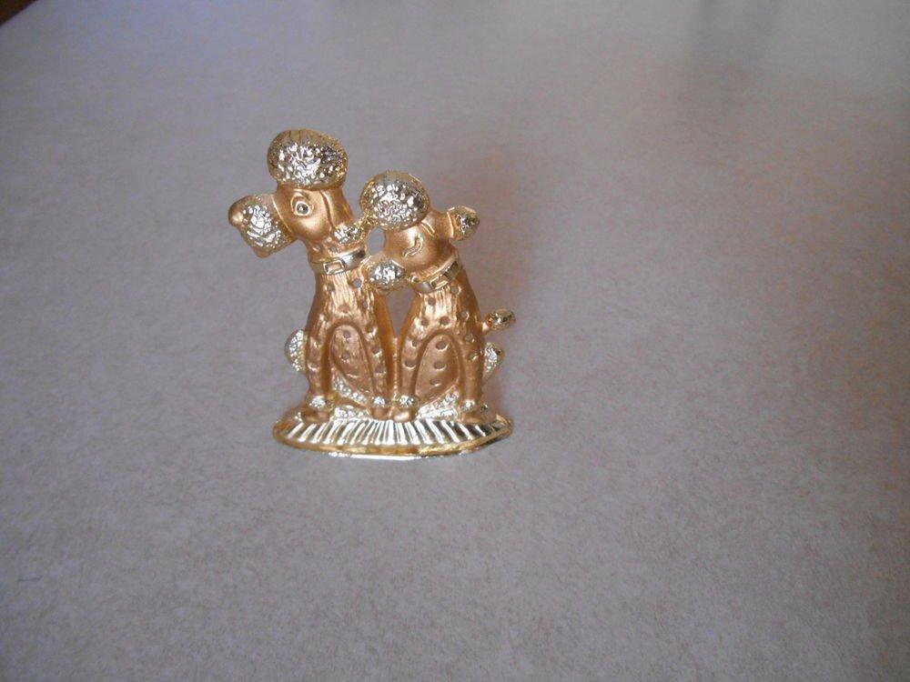 Shiny Gold Tone Poodle Freestanding Figurine