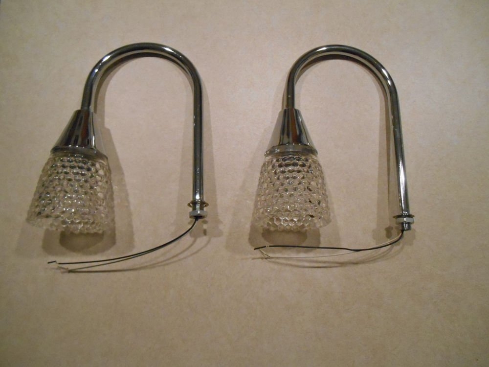 Lot of 2 Replacement Halgen Lamps SIlver with a glass hobnail shade.
