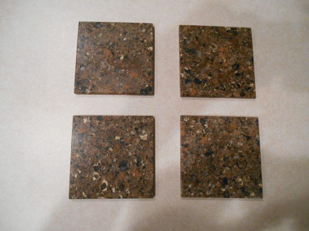 Set of 6 brown granite glass coasters