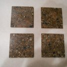 Set of 6 brown granite glass coasters