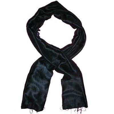 Thai Silk Scarf Navy Blue Color Medium Size