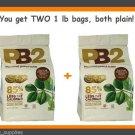2 Bags Bell Plantation PB2 Plain Powdered PEANUT BUTTER 16 oz 1 LB BAGS LOT