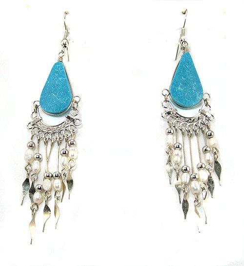 Blue Turquoise & Seed Pearl Chandelier Silver Earrings