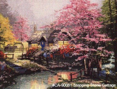 Stepping Stone Cottage by Thomas Kinkade - Cross Stitch Chart