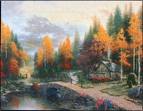 Valley Of Peace by Thomas Kinkade - Cross Stitch Chart
