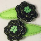 Lime Green and Black Glitter Flowers