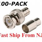 NEW BNC Male Crimp-On Connector, 2 piece set, RG59 (Coaxial Cable) (100 PIECES)
