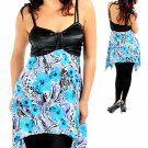 Blues Aqua's Lilac Black Floral Print Spaghetti Strap Long Top 2X