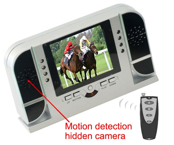 Clock DVR and Video Player with HD Motion Detection Night Vision with 2.4 Inches Monitor and Remote