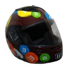 M&M Licensed Full Face Brown Motorcycle Helmet NEW