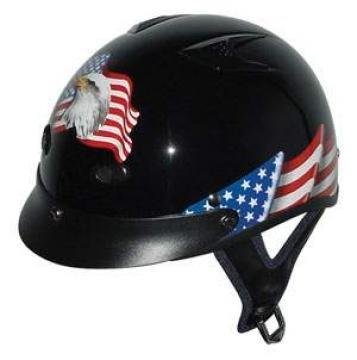 DOT VENTED EAGLE FLAG MOTORCYCLE HALF HELMET BEANIE HELMET NEW