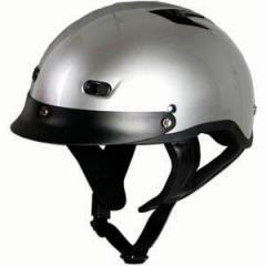 DOT SILVER MOTORCYCLE HALF HELMET