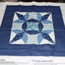 Pretty Blue Quilted Star Pillow Panel #2