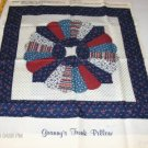 Grannys Trunk Pillow Panel  - Blues & Reds