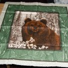 Brown Bear Pillow Front Panel - Browns & Greens