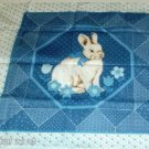 Sweet Bunny Rabbit Pillow Panel with Blue Flowers