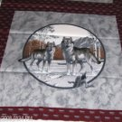 Wolf Pillow Panel Front -Two Wolves in Birch Trees