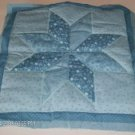 Floral Blue Quilted Pillow Front, Includes Batting
