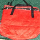 RED SUEDE MAKEUP CADDY, NICE SIZE & SHAPE, LOTS OF ROOM