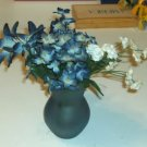 Blue Tulip Shaped Glass Vase, 8 Mini Bunches of Flowers