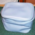 BLUE VINYL TRAIN CASE MAKEUP BAG - STURDY BAG