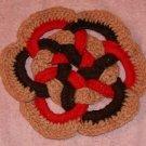 Handmade Pretty Red & Brown Potholder,Geometric Design