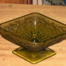 Green Diamond Shaped Dish - Footed - Etched - Vintage