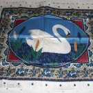 White Swan and Cattails Pillow Panel Front - Pretty