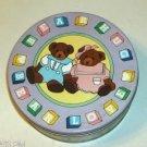 Bear Blocks Round Collector Tin 1988, Purple Lid, Cute